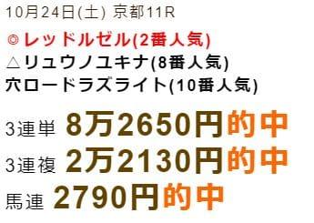 シンクタンク的中実績 10/24京都11R
