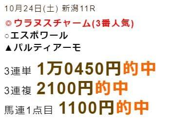 シンクタンク的中実績 10/24新潟11R