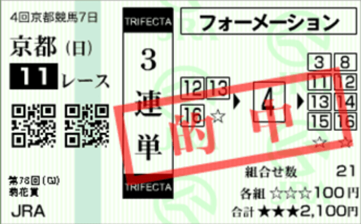 2017年菊花賞の的中馬券