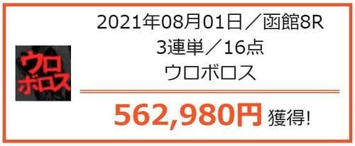 うまライブの的中 2021年8月1日函館8R