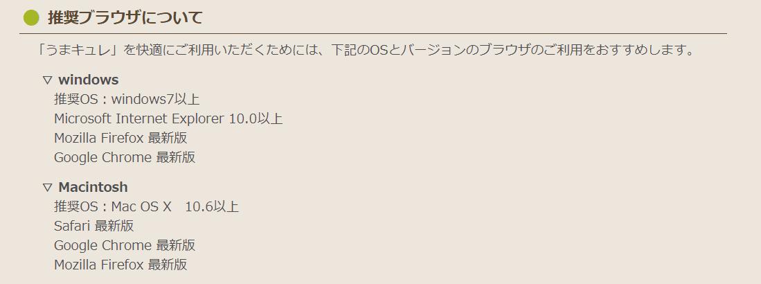 うまキュレ 推奨OS