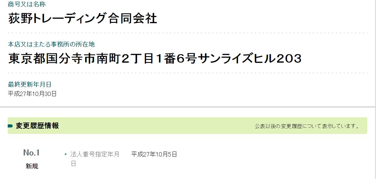 荻野トレーディング合同会社 法人登録情報