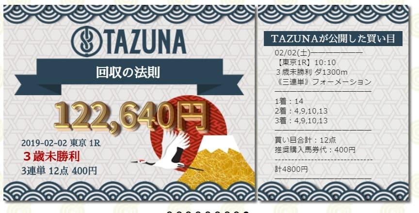 TAZUNA 的中実績