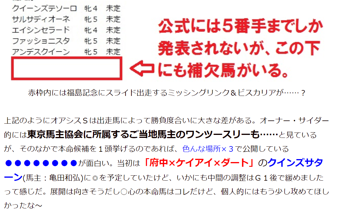 小宮城の馬主馬券術~オーナー・サイダー~ 本命馬 予想