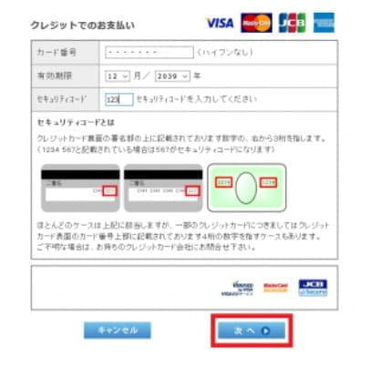 クレジットカード情報と暗証番号を入力する