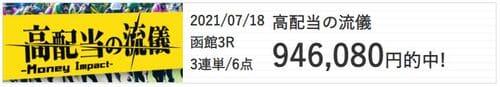 あしたの万馬券の的中 2021年7月18日函館3R
