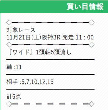 ウマくる 無料情報 11/21