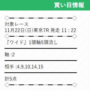 ウマくる 無料情報 11/22