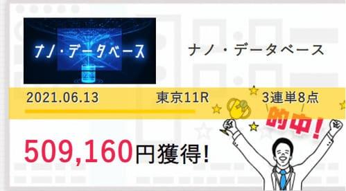 スマート万馬券の的中実績 6/13東京11R