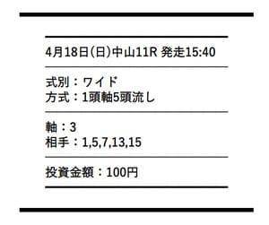 4月18日中山11R 無料情報