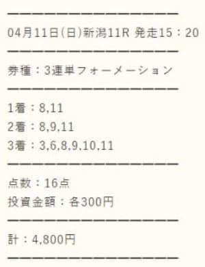 スマート万馬券の有料情報 4/11新潟11R