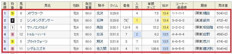 9月14日阪神8R結果